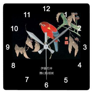 伊藤若冲『 櫟に鸚哥図 』 QUADRATISCHE WANDUHR