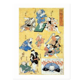 流行猫の狂言づくし, 国芳 Schauspieler der Katze, Kuniyoshi, Postkarte
