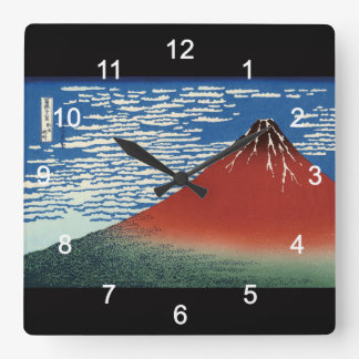 葛飾北斎 , Hokusai Quadratische Wanduhr
