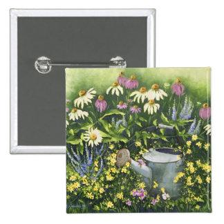 0530 Kegel-Blumen u. Bewässerungs-Dose Quadratischer Button 5,1 Cm