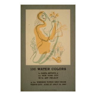 100 Aquarell-Ausstellung New York City WPA 1940 Poster