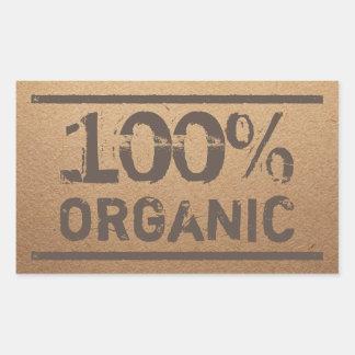 100% Bio frisches lokales Erzeugnis Rechteckiger Aufkleber
