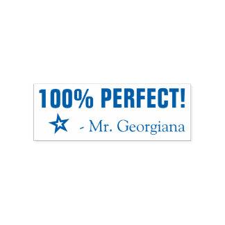 """""""100% PERFEKT!"""" Lehrer-Gummi-Briefmarke Permastempel"""