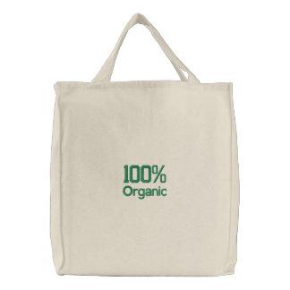 100 Prozent-Bio Einkaufstasche Bestickte Tragetasche