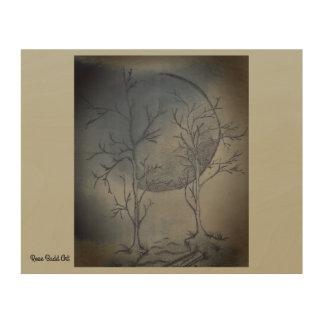"""10"""" durch 8"""" hölzerne Wandkunstnächte moon Holzwanddeko"""
