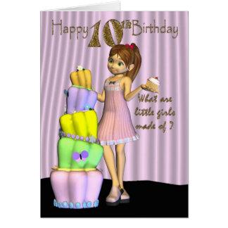 10. Geburtstag, Esprit des kleinen Mädchens der Grußkarte