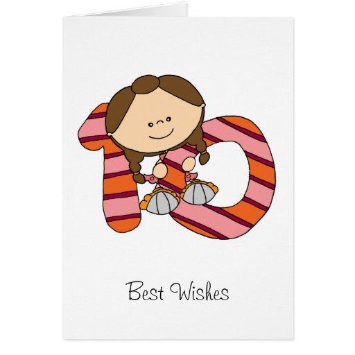 10. Geburtstag - Gruß-Karte - Mädchen
