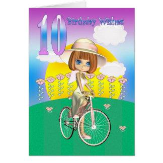 10. Geburtstags-Karte mit kleinem Mädchen auf Grußkarte
