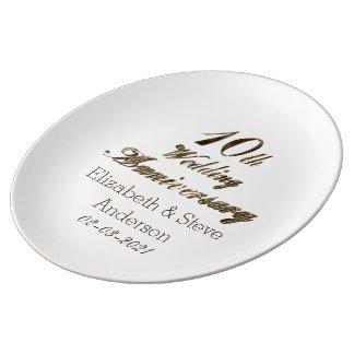 10. Hochzeitstag-Typografie-elegantes Gold Teller