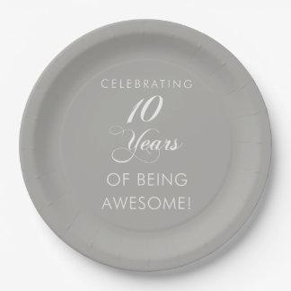 10 Jahre des Seins feiern fantastisch Pappteller