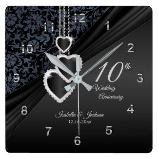 10. Onyx-Hochzeitstag-Andenken 2 Quadratische Wanduhr