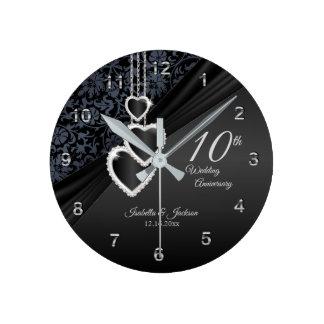 10. Schwarzer Onyx-Hochzeitstag-Entwurf Runde Wanduhr