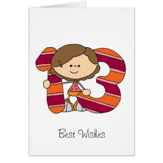 13. Geburtstag - Gruß-Karte - Mädchen Grußkarte
