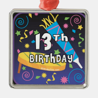 13. Geburtstag Quadratisches Silberfarbenes Ornament
