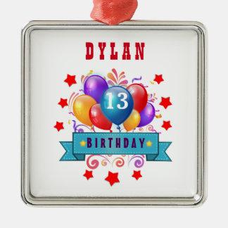 13. Geburtstags-festliche Ballone und Rot-Sterne Quadratisches Silberfarbenes Ornament