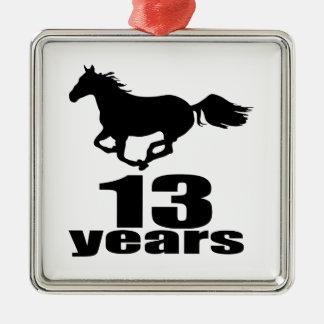 13 Jahre Geburtstags-Entwurfs- Quadratisches Silberfarbenes Ornament