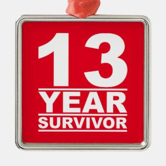 13-jähriger Überlebender Quadratisches Silberfarbenes Ornament