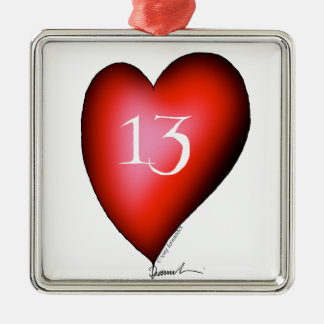 13 von Herzen Quadratisches Silberfarbenes Ornament