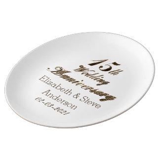 15. Hochzeitstag-Typografie-elegantes Gold Porzellanteller