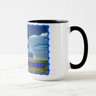 15 Unze. weiße Kaffeetasse mit schwarzer Kante und