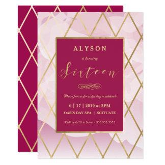 16. Geburtstag, 16. Geburtstags-Einladungs-Gold 11,4 X 15,9 Cm Einladungskarte
