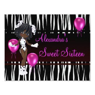16. Geburtstag 16 Geburtstags-Mädchen-Rosa-Ballone 10,8 X 14 Cm Einladungskarte