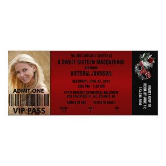 16. Geburtstag-Maskerade VIP-Aufnahme-Karte 10,2 X 23,5 Cm Einladungskarte