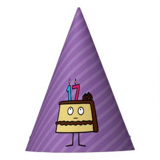 17. Geburtstags-Kuchen mit Kerzen Partyhütchen