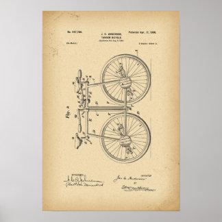 1890 Patent-Fahrrad-Tandem Poster