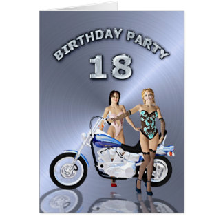 18. Geburtstags-Party mit einem Mädchen und einem Grußkarte