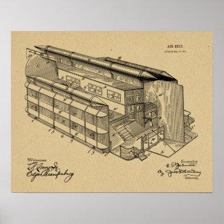 1903 fliegende Luftschiff-Patent-Kunst, die Druck Poster