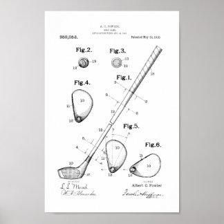 1910 Vintager Golf-Verein-Patent-Kunst-Druck Poster