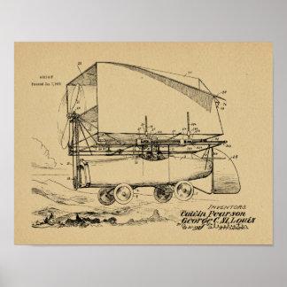 1919 fliegende Auto-Luftschiff-Patent-Kunst, die Poster