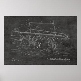 1919 Kriegs-Luftschiff-Flugzeug-Patent-Kunst, die Poster