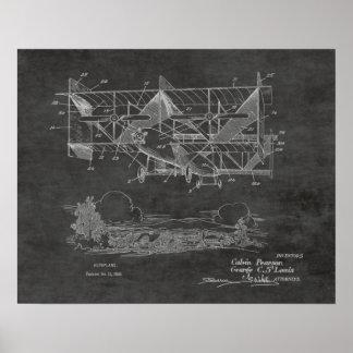 1920 Vintages Doppeldecker-Flugzeug-Patent, das Poster