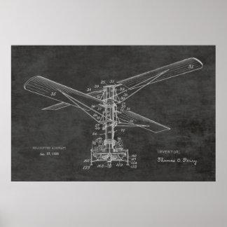 1925 Hubschrauber-Flugzeug-Patent-Zeichnen Vintag Poster