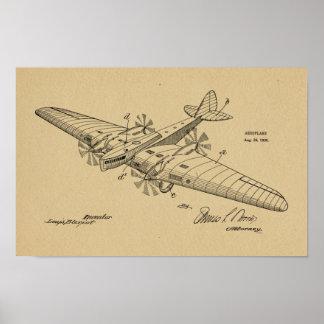 1930 Vintages Boots-Flugzeug-Patent, das Druck Poster