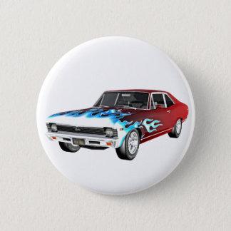 1968 rotes weißes und blaues Muskel-Auto Runder Button 5,1 Cm