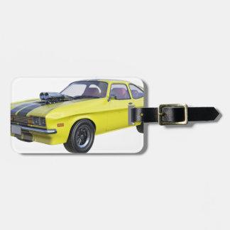 1970 Muskel-Auto-Gelb mit schwarzem Streifen Gepäckanhänger