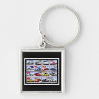 1978-2013 Sonderausgabe-Korvette-Montage Silberfarbener Quadratischer Schlüsselanhänger