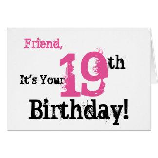 19. Geburtstagsgruß des Freunds im Schwarzen, rosa Karte