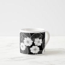 1 Espresso-Tassen-Damast-graues Mit BlumenSchwarz- Espresso-Tasse