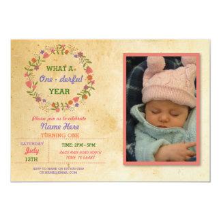 1. Geburtstag 1 ein derful erstes Party-Foto laden 12,7 X 17,8 Cm Einladungskarte