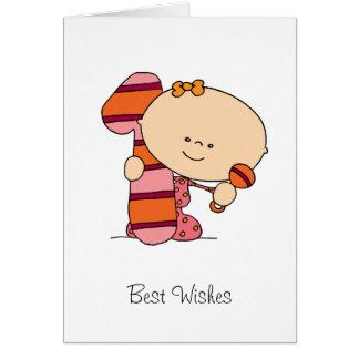 1. Geburtstag - Gruß-Karte - Mädchen
