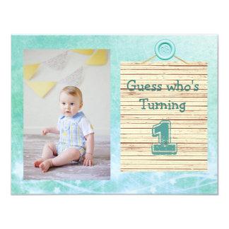 1. Geburtstags-aquamarine Baby-Jungen-Party Karte