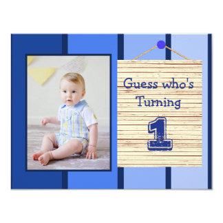 1. Geburtstags-blaues Baby-Jungen-Party Karte