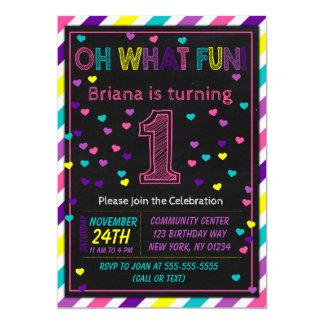 1. Geburtstags-Einladungs-Mädchen-erstes Karte