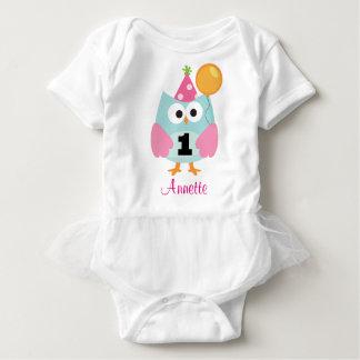 1. Geburtstags-Eulen-personalisierter Babybody