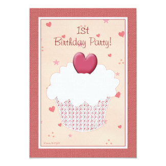 1. Geburtstags-Party Einladung - Herz-kleiner