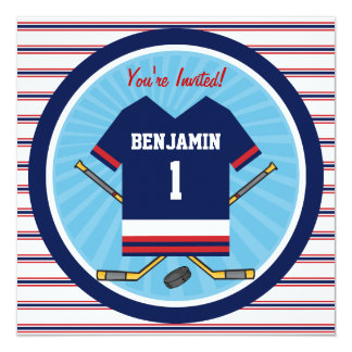 1. Geburtstags-Party Eis-Hockey-Jerseys V2 Quadratische 13,3 Cm Einladungskarte